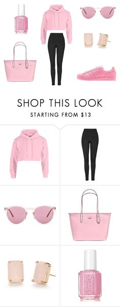 """""""Pink"""" by annaschluter on Polyvore featuring Topshop, adidas, Oliver Peoples, Coach, Kate Spade and Essie"""
