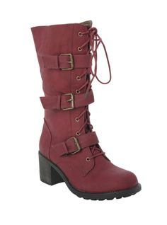 Burgundy combat style boots with three buckle accents, side zipper and lace-up closure.