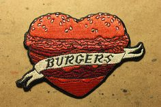Burger Heart Patch by StudioJFISH on Etsy