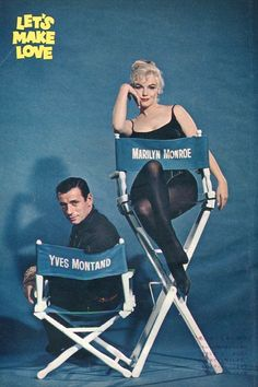 Marilyn Monroe and Yves Montand in a publicity photo for Let's Make Love, 1960.