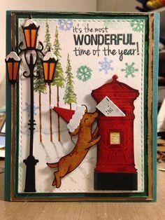 Dashchund Dog, Village lamppost and mailbox: Poppy Stamps and Avery Elle dies