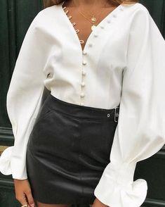 Button Design Gigot Sleeve Blouse