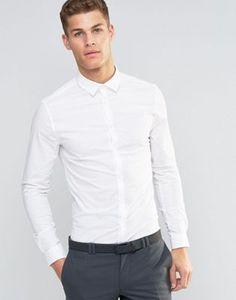 half off ce23f 79ed9 DESIGN skinny shirt in white