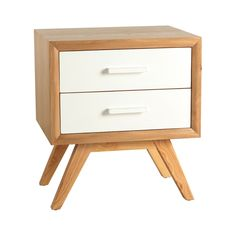 Enjoy sleek, modern class with this Braxton nightstand. The two lacquered drawers are available in various colors, while the chamfered edges and mitered joint corners exemplify the highly-detailed cra