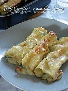 Cannelloni in bianco con verdure e gorgonzola Crepes, Italian Dishes, Italian Recipes, Pasta Recipes, Cooking Recipes, Pasta Casera, Cannelloni, How To Cook Rice, Vegetarian