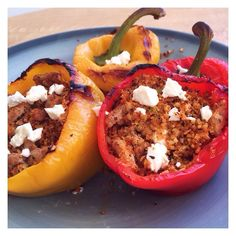 Supper This Evening: Roasted Peppers Stuffed with Cauliflower Rice Turkey Mince and Feta. Working on the recipe to put up soon  . #teamLBP #leanbodyperformance #lbptestgroup #leanin15 #fitlondoners #nourish #cleanandlean #eatclean #eatforabs #absaremadeinthekitchen #cleaneating #flexiblediet #iifym #iifymgirls #bbgfam #bbgfood #bbggirls #thekaylamovement #kaylasarmy #kaylaitsines #ukfitfam #ukbff #fitfam #fitstagram #fitspo #lowcarb #hbloggers by so_fresh_and_so_lean