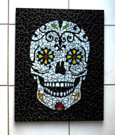 Glass mosaic wall art with sugarskull motif. 55x45 cm / 21,65x17,7 If you like this style but prefer a different motif, please let us know in a message! You can find more mosaic wall arts among my items. Shipping from Hungary/Europe to everywhere. The shipping price will vary