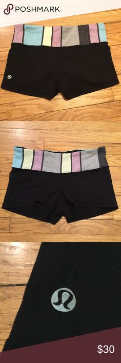 Lululemon black workout gym shorts - size 8 Lululemon black workout gym shorts - size 8. Waist - 14.5 inches. Inseam - 2 inches. Rise - 7.5 inches. Length - 10.5 inches. Great condition. lululemon athletica Shorts