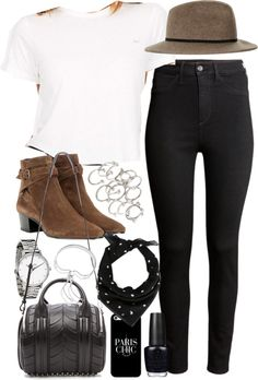 Outfit with brown boots by ferned featuring a fedora hat Clothing / H&M high-waisted jeans, 14 AUD / Yves Saint Laurent short boots / Alexander Wang bag, 1 220 AUD / Monica Vinader sterling silver jewelry, 330 AUD / Topshop silver jewelry, 245 AUD /...