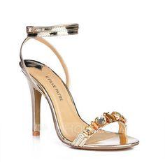 Imitação de couro Salto agulha Sandálias Sapatos abertos com Imitação de Diamante sapatos (087015254)