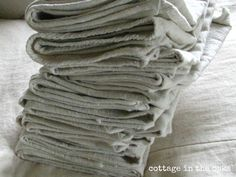 drop cloth napkins  you could stamp or stencil for holidays.