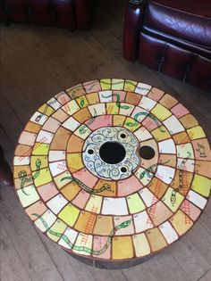 Old cable drum converted in to snakes and ladder table by Artist Ann Lamb