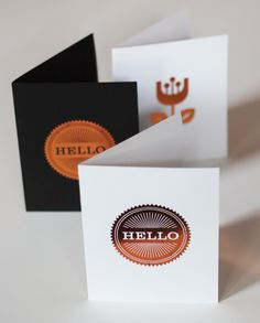 DIY cards with copper foil | How About Orange - she uses an iron first, then uses the laser printer (print a 'blank doc' and run it through to adhere the foil) - brilliant idea!
