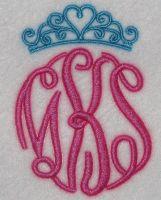Tiara Crown Embroidery Monogram Frame Design | Apex Embroidery Designs, Monogram Fonts & Alphabets
