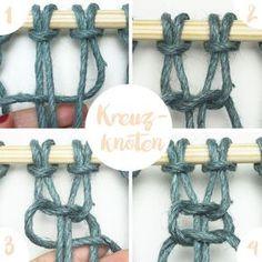 """Hier ist eine Anleitung für den Kreuzknoten (oder auch Weberknoten genannt). Du brauchst ihn bei der Makramee-Technik. Damit kannst du zum Beispiel einen Blumenhänger basteln, wie zum Beispiel diesen hier auf meinem Blog """"omniview"""": https://omniview.jimdo.com/makramee-blumenkasten-anleitung-diy/ DIY Tutorial macrame knot square knot"""