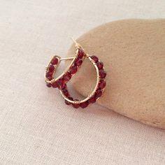 Lisa Yang's Jewelry Blog: Free Tutorial: Channel Set Garnet Rondelle Wire Wrap Hoop Earrings