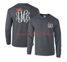 Long Sleeve Monogrammed Tshirt, Simply Southern T-shirt, Southern Clothing, Women's Shirt, Monogram Tee