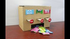 """Today i am going show How to Make MULTI Chewing Gum Vending Machine at Home DIY. Hope you enjoyed this video. If you like video please """"SUBCRIBE"""" """"LIKE"""" """"S. Chewing Gum, Valentine Box, Valentine Day Crafts, Cardboard Box Crafts, Paper Crafts, Vending Machine Diy, Paper Candy, Candy Dispenser, Creative Box"""