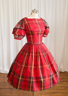 74f5d2a59a3b Holly Berry dress | vintage 50s dress | red plaid 1950s party dress | 1950s  silk organza dress | Parklane Debs | 50s party / holiday dress