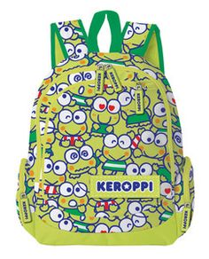 Our Keroppi backpack is designed for maximum comfort and cuteness. Made from a tough woven polyester, it features multiple pockets, a roomy main compartment and padded shoulder straps. And let's not forget its super sweet Keroppi wallpaper design - he's sure to make you smile throughout your busy day.