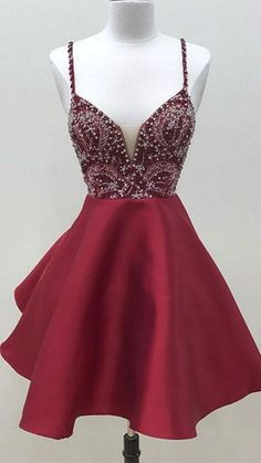 Beaded Burgundy Short Homecoming Dress with Spaghetti Straps Cute Girls Cocktail Party Gowns Short School Dance Dresses Sweet Dresses Short Red Prom Dresses, Burgundy Homecoming Dresses, Hoco Dresses, Cheap Prom Dresses, Dance Dresses, Simple Dresses, Pretty Dresses, Short Prom, Dress Prom