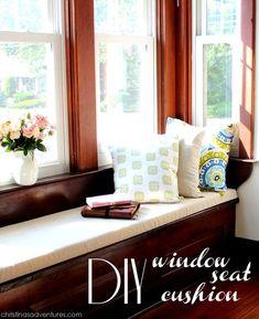 DIY (no sew) window seat cushion tutorial