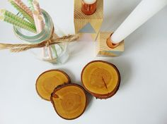 Wooden Coasters Wooden Slices set of 2. by SkandiDekor on Etsy