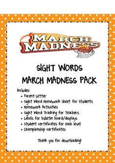 Use this great tool to celebrate March Madness, and teach sight word mastery at the same time!Students will be tested on 10 sight words per week. When they master 10 words, they move to the next round. Students that make it to the championship get to celebrate with a party!For my class, we used the attached headers to give students a visual representation.