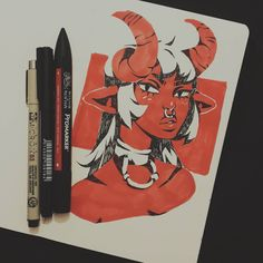 will i ever stop ??? nope. i want to design a demon race that's not just red skin plus horns, any suggestions or references of what my version of demon girls should look like ? • • • #art #artist #draw #drawing #illustration #sketch #doodle #artoftheday #characterdesign #character #design #demon #demongirl #markers #ink #dailyart #portrait #traditional #traditionalart #sketchbook #digital