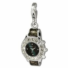 SilberDream Charm black and grey enameled wrist watch with white Zirconia, 925 Sterling Silver Charms Pendant with Lobster Clasp for Charms Bracelet, Necklace or Earring FC657 SilberDream Charms. $26.95. Save 26% Off!