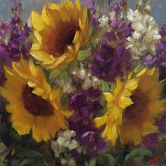 Sunflowers  and  Stock - Original Fine Art for Sale - © by Krista Eaton