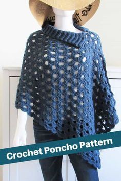 Crochet Poncho Patterns, Crochet Cardigan Pattern, Crochet Scarves, Crochet Clothes, Crochet Ideas, Crochet Hooks, Crochet Baby, Free Crochet, Knit Crochet