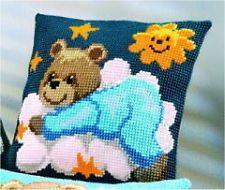 "Vervaco BLUE TEDDY Chunky Cross Stitch Cushion Front Kit 16"" x 16"""