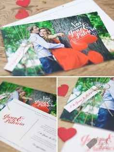 Invitación postal fotos novios. Modelo Post Card #wedding #invitation #stationery