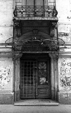 Art Nouveau Bucharest Doorway by evanjacobs on DeviantArt Journey To The Past, Art Nouveau, Art Deco, Shutter Doors, Door Gate, House Doors, Architectural Features, Bucharest, Abandoned Buildings