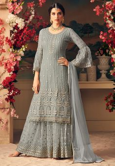 Light Green & Off White Designer Heavy Embroidered Net Sharara Suit - Moda Femminile Indian Gowns Dresses, Pakistani Dresses, Indian Outfits, Pakistani Suits Online, Emo Outfits, Trendy Outfits, Party Wear Dresses, Wedding Party Dresses, Bridal Dresses
