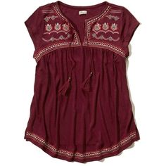 Hollister Shine Embroidery Cap-Sleeve Peasant Top ($35) ❤ liked on Polyvore featuring tops, blouses, burgundy with shine, embroidery blouses, burgundy top, peasant tops, purple blouse and peasant blouse