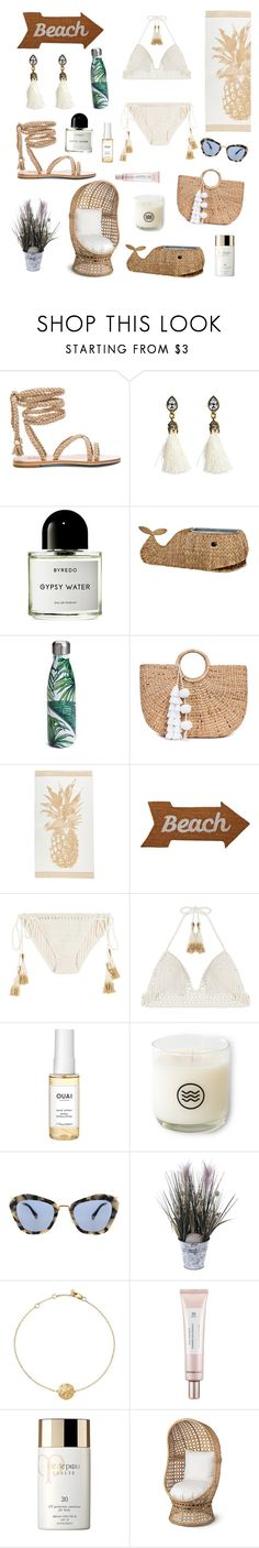 """""""Sandy beaches girl🌾"""" by juliamariemcmahon ❤ liked on Polyvore featuring Byredo, S'well, JADE TRIBE, Mud Pie, SHE MADE ME, Ouai, Keap, Miu Miu, Bloomingdale's and Thank You Farmer"""