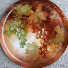 Grapes in Autumn by Andrew Orr, USA - kilnfireart Grape Painting, Fruit Painting, China Painting, Ceramic Painting, Antique Plates, Decorative Plates, China Porcelain, Painted Porcelain, Hand Painted