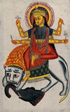 Durga riding on her lion killing a demon