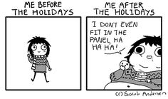 Sarah's Scribbles: Me Before & After the Holidays. By Sarah Andersen.