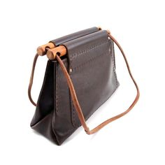 Rustic Bohemien Wood and Leather Bag in Chocolate by NashDryGoods