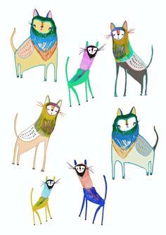 The Cats. Limited edition art print by Illustrator Ashley Percival. Cat Art Print.. $30.00, via Etsy.