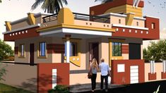 single story house design in indian style House Outside Design, House Front Design, Door Design, 2bhk House Plan, Story House, Indian Home Design, Indian Home Decor, House Elevation, Building Elevation