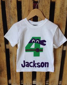 Donatello, Purple Mask TMNT Teenage Mutant Ninja Turtles Birthday Shirt. Available in any number. Four, Five, Six, etc. on Etsy, $20.00