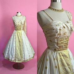 3aff287fdeb6 1950 s Vintage Cream and Metallic Gold Custom Made Shoulder Drape Silk New  Look Show Stopper Evening Gown Wedding Dress Formal XS 24