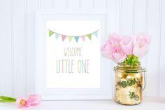 Welcome Little One Printable, Newborn Gift, Nursery Decor