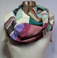 Norah - Extra Long Magenta, Dusk Blue and Cornflower Handwoven Scarf. by zVanessa Lauria --- etsy