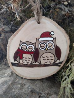 Personalized Wood Burned Ornament Santa Owl Couple white