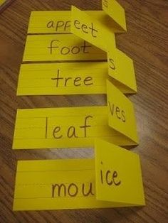 Teaching Plurals! How Cute And Easy!   Teaching plurals- easy to make by simply folding sentence strips! How awesome!                                                                                                                                                                                 More